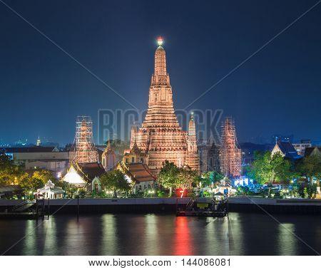 Atmosphere thai temple in night tine, Bangkok