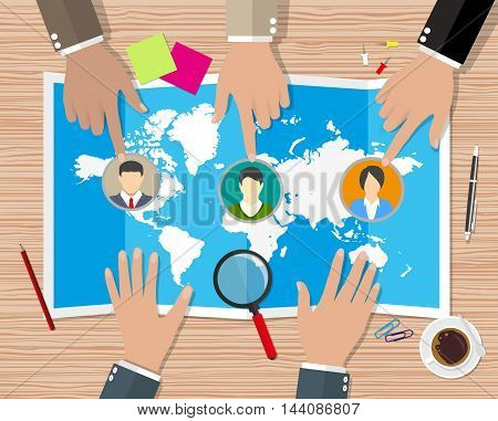 Human resources management concept, searching professional staff, work, hq, hard choice between three people, world map, pen, coffee cup. vector illustration in flat design on wooden background