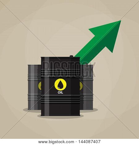 three oil barrel and green chart graph arrow pointing up. vector illustration in flat style on brown background