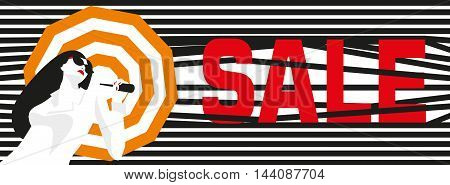 Inscription sale. Banner. Fashion girl with an umbrella. Bold, minimal style. Pop Art. OpArt, positive negative space and colour. Trendy strips.Vector illustration. - stock vector