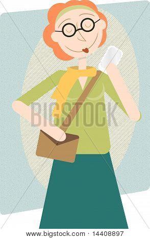 Modern Woman Enjoying Cell Phone, Retro Style Illustration