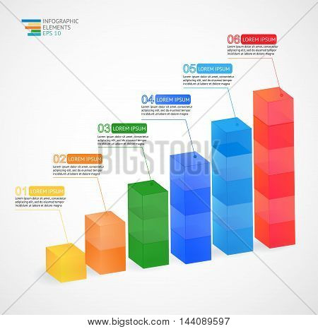 Modern multicolor vector 3D growing graph infographic for statistics, analytics, marketing reports, presentation and web design. Vector illustration.