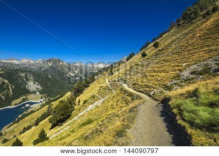 Landscape During Mountain Hiking At Pyrenean Mountain, Saint Lary Soulan