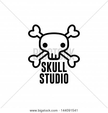 Original Design Logo, Emblem, Label Template with Skull and Cross-bones. For your Small Business Design. Vector Illustration EPS10.