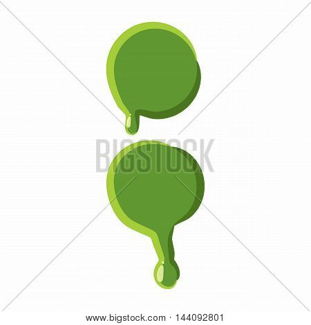 Punctuation mark colon from latin alphabet with numbers and symbols made of green slime. Font can be used for Halloween design and other purposes