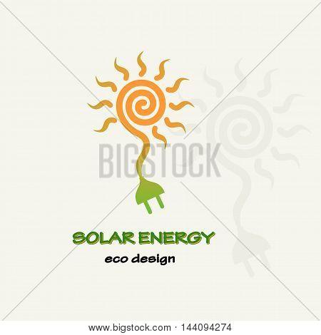 Solar Energy. Symbolic sun spiral and plug. Template for creating logos, emblems, monograms.