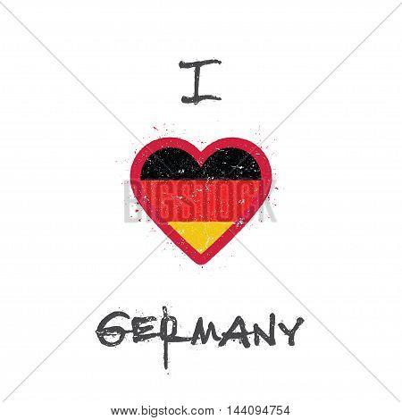 I Love Germany T-shirt Design. German Flag In The Shape Of Heart On White Background. Grunge Vector