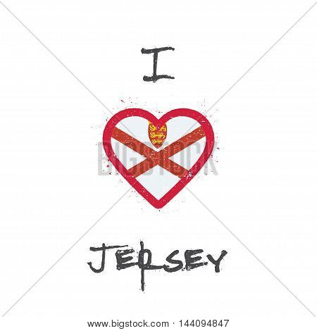 I Love Jersey T-shirt Design. Channel Islander Flag In The Shape Of Heart On White Background. Grung