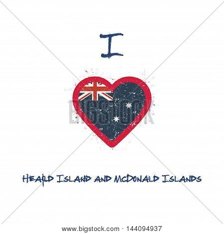 I Love Heard And Mcdonald Islands T-shirt Design. Heard And Mcdonald Islander Flag In The Shape Of H