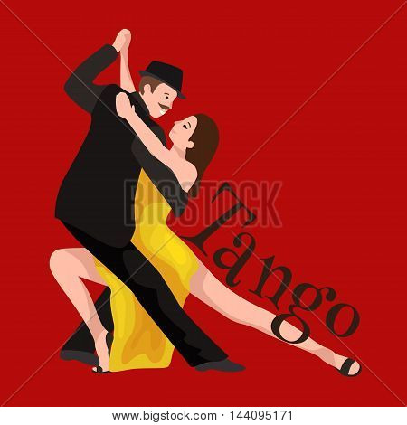 Yong couple man and woman dancing tango with passion, tango dancers vector illustration isolated on red. Latin and ballroom dances, peoples dansing tango, girl and boy tango