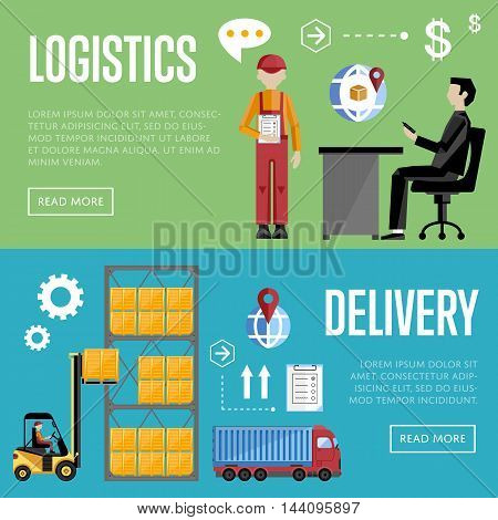 Logistics and delivery banner set of logistics process services isolated vector illustration. Warehouse management concept. Distribution process icon. Shipment boxes. Delivery process. Logistic concept.