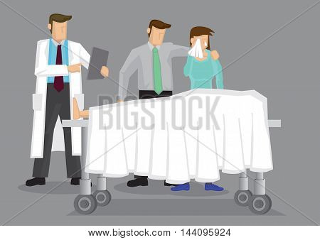 Doctor with a couple weeping over a dead body covered in white sheet on wheeled bed. Vector cartoon illustration on death and grief concept isolated on grey background.