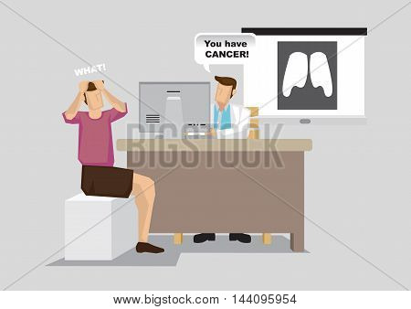 Patient shocked that he is diagnosed with lung cancer during doctor consultation. Vector cartoon illustration on healthcare concept on cancer.