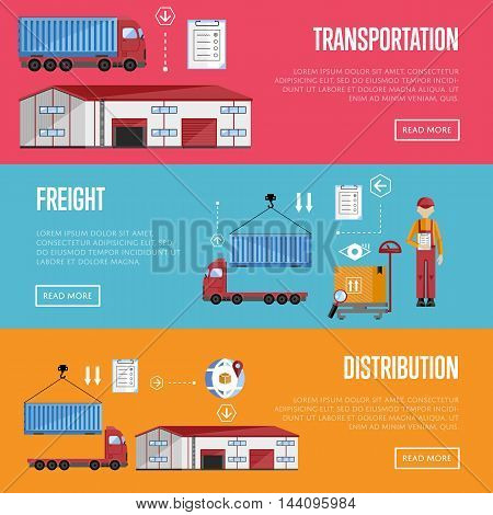 Logistics process services banners set of distribution, transportation and freight isolated vector illustration. Exterior warehouse, porters and shelves with goods. Freight concept. Distribution process icon. Shipment boxes. Delivery process.