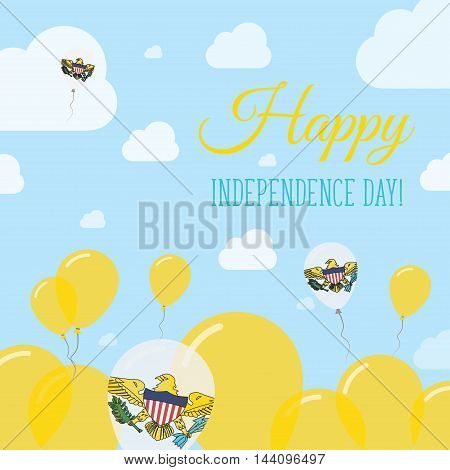 Virgin Islands, U.s. Independence Day Flat Patriotic Design. Virgin Islander Flag Balloons. Happy Na