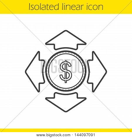 Money spending linear icon. Accounting sign. Dollar coin with all direction arrows thin line illustration. Finance investment contour symbol. Vector isolated outline drawing