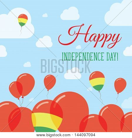 Bolivia Independence Day Flat Patriotic Design. Bolivian Flag Balloons. Happy National Day Vector Ca