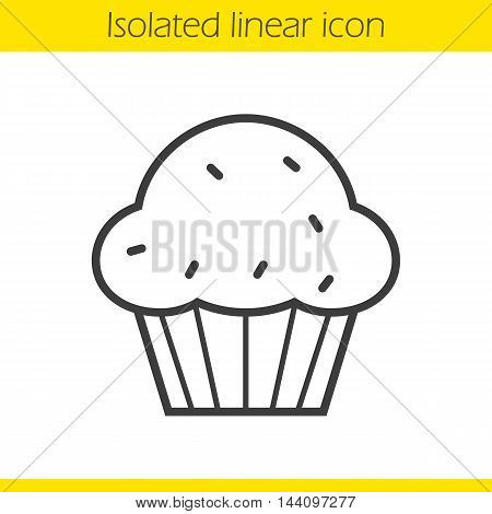 Cupcake linear icon. Thin line illustration. Muffin contour symbol. Vector isolated outline drawing