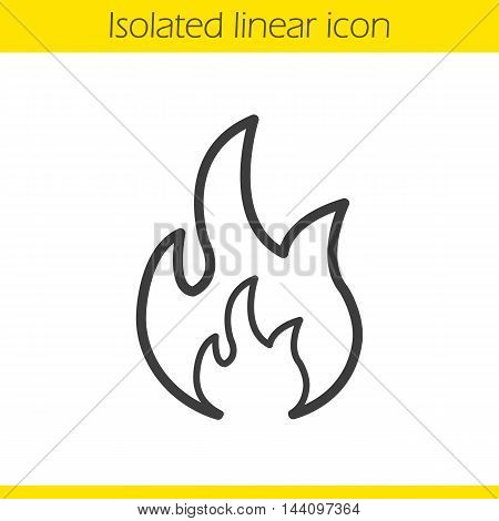 Flammable sign linear icon. Thin line illustration. Fire contour symbol. Vector isolated outline drawing