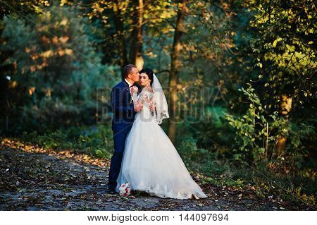 Young Stylish Wedding Couple At Magestic Wood