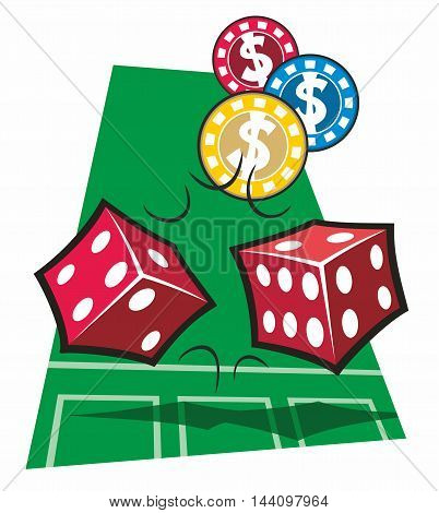Two red dice and three casino chips tumble over a stylized representation of a craps table in a cartoon vector illustration.