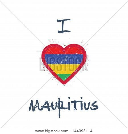 I Love Mauritius T-shirt Design. Mauritian Flag In The Shape Of Heart On White Background. Grunge Ve