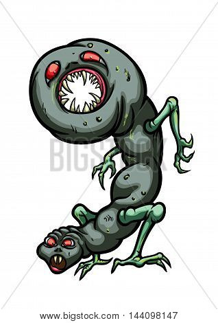 Illustration digit creature '9' figure like a worm with two heads