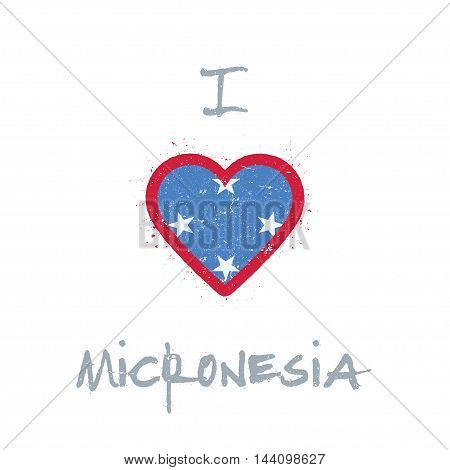 I Love Micronesia, Federated States Of T-shirt Design. Micronesian Flag In The Shape Of Heart On Whi