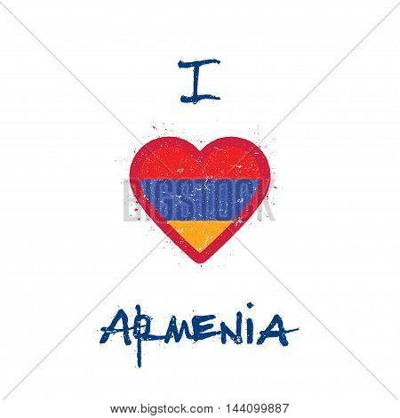 I Love Armenia T-shirt Design. Armenian Flag In The Shape Of Heart On White Background. Grunge Vecto