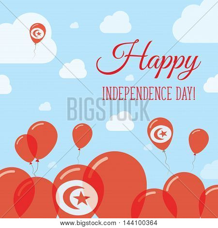 Tunisia Independence Day Flat Patriotic Design. Tunisian Flag Balloons. Happy National Day Vector Ca