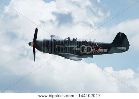 PARDUBICE CZECH REPUBLIC - 29 May 2016: Aircraft Yak 3 aircraf in aviation fair and century air combats Pardubice Czech Republic on 29 May 2016