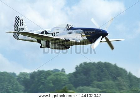 PARDUBICE CZECH REPUBLIC - 29 May 2016: Aircraft P 51D Mustang aircraf in aviation fair and century air combats Pardubice Czech Republic on 29 May 2016