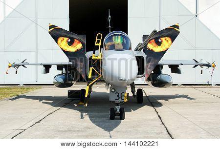 PARDUBICE CZECH REPUBLIC - 29 May 2016: Aircraft JAS 39C Gripen in aviation fair and century air combats Pardubice Czech Republic on 29 May 2016