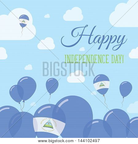Nicaragua Independence Day Flat Patriotic Design. Nicaraguan Flag Balloons. Happy National Day Vecto