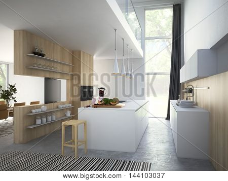 Kitchen and living room of loft apartment