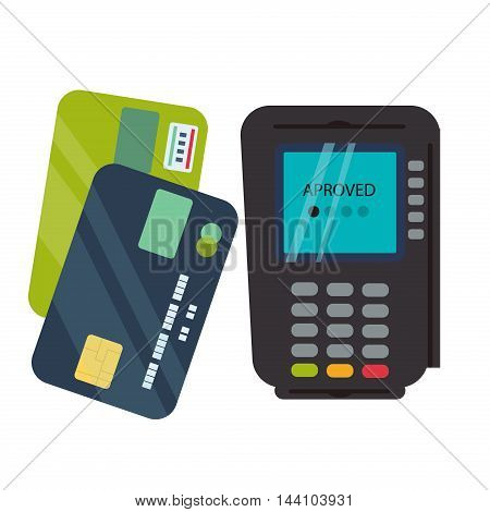 POS terminal isolated on white background. Business transaction money payment card. POS terminal with barcode scanner and receipt printer. POS terminal with inserted credit card and print receipt.