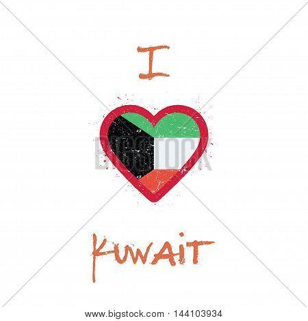 I Love Kuwait T-shirt Design. Kuwaiti Flag In The Shape Of Heart On White Background. Grunge Vector