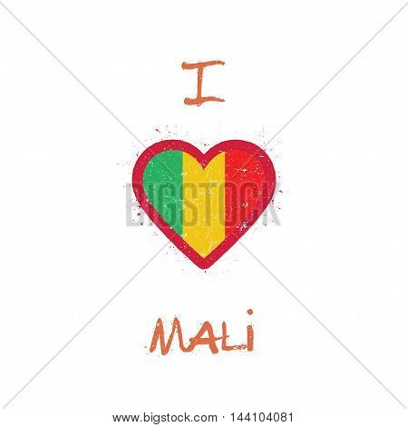I Love Mali T-shirt Design. Malian Flag In The Shape Of Heart On White Background. Grunge Vector Ill