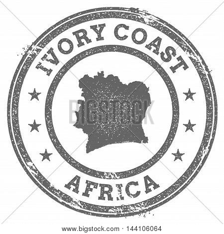 Cote D'ivoire Grunge Rubber Stamp Map And Text. Round Textured Country Stamp With Map Outline. Vecto