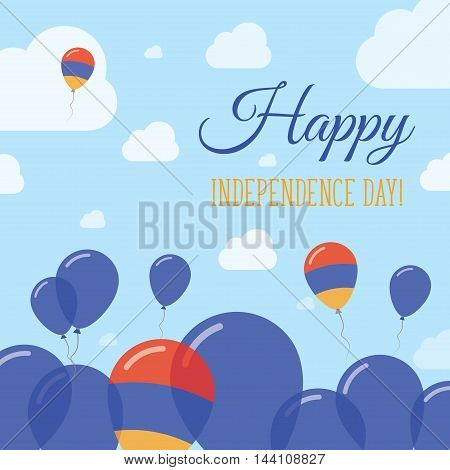 Armenia Independence Day Flat Patriotic Design. Armenian Flag Balloons. Happy National Day Vector Ca