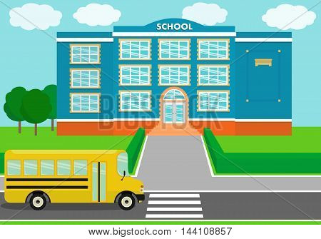 School building over landscape background with schoolbus. Vector illustration.