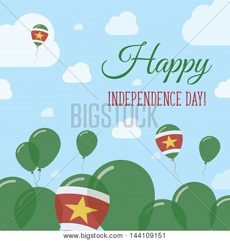 Suriname Independence Day Flat Patriotic Design. Surinamer Flag Balloons. Happy National Day Vector