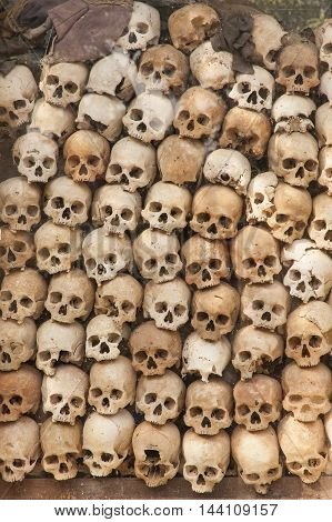 Cambodian Killing Field, Shrine, Skulls From Victims Showing Horrific Genocide