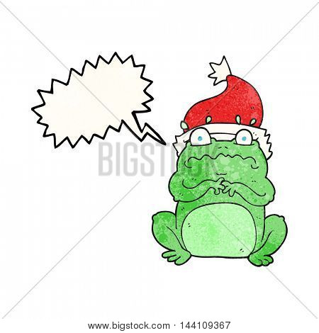freehand speech bubble textured cartoon frog in christmas hat