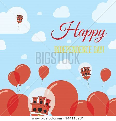 Gibraltar Independence Day Flat Patriotic Design. Gibraltar Flag Balloons. Happy National Day Vector