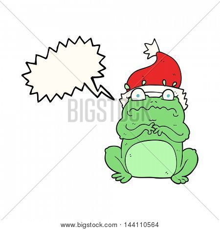 freehand drawn speech bubble cartoon frog in christmas hat