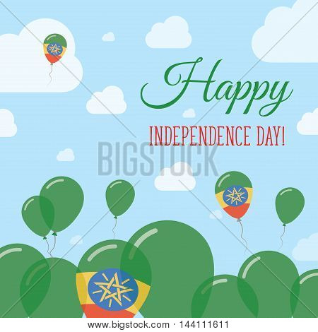Ethiopia Independence Day Flat Patriotic Design. Ethiopian Flag Balloons. Happy National Day Vector