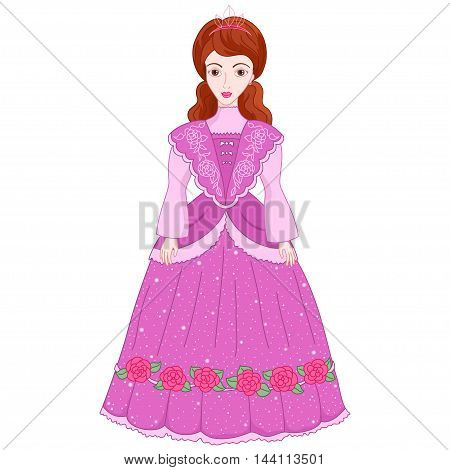 Illustration of beautiful brunette princess in ancient dress 19 century, cute lady noblewoman, vector