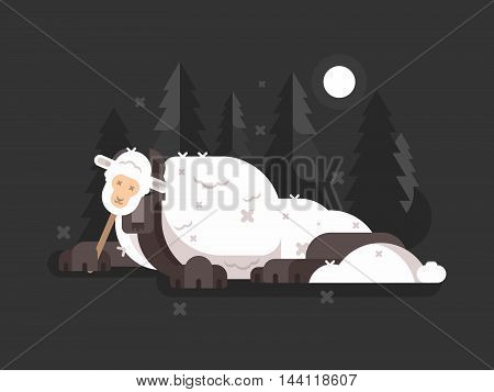 Wolf in sheeps clothing. Cunning predator on hunt. Vector illustration