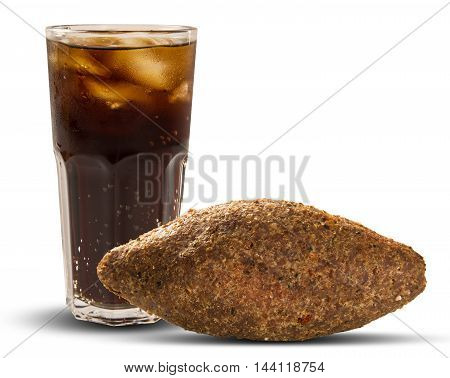 Kibe roast with cola. Brazilian snack. White background
